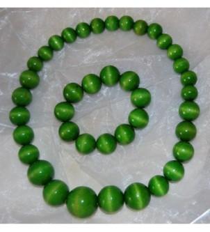 Korale z bransoletką - zielone