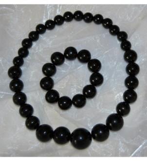 Korale z bransoletką - czarne