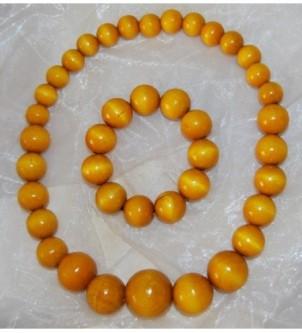 Korale z bransoletką - żółte