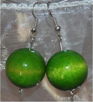 Kolczyki kule zielone