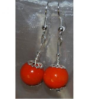 Kolczyki kule pomarańczowe
